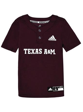 Texas A&M Adidas Diamond King Elite 2-Button Youth Baseball Jersey