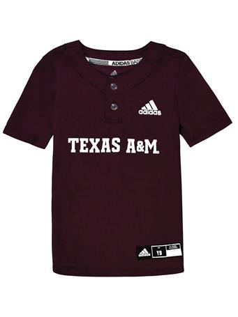Texas A&M Adidas Diamond King Elite 2-Button Youth Baseball Jersey