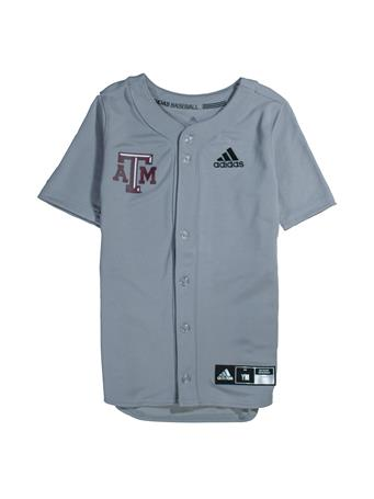 Texas A&M Adidas Diamond King Elite Full Button Youth Baseball Jersey