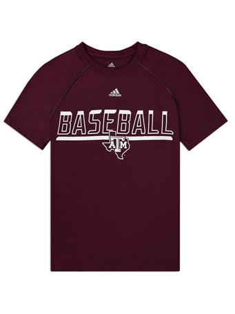 Texas A&M Adidas Youth Safe At Home Baseball Tee