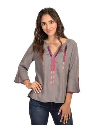 Embroidered Grey Tencel Blouse