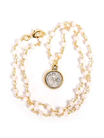 Noah and Faye Pink Rosary Coin Necklace