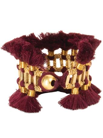 Maroon and Gold Fringe Bracelet