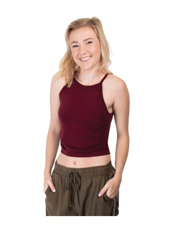 Maroon High Neck Crop Top