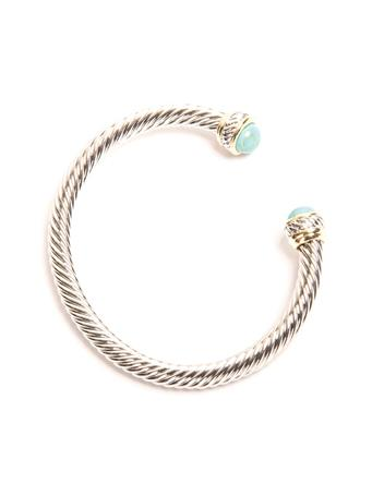 Turquoise Two-Tone Cable Cuff Bracelet