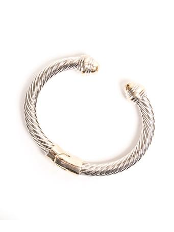 Medium Hinged Two-Tone Cable Cuff Bracelet