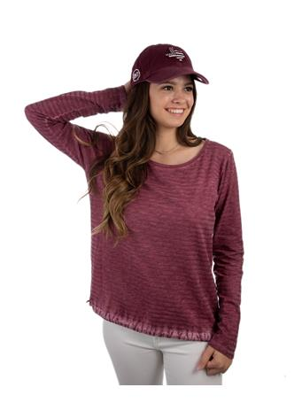 Maroon Glitter Stripe Long Sleeve Top