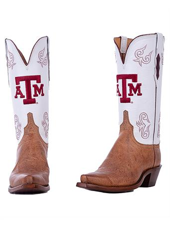 Texas A&M Lucchese Women's White Top Boot