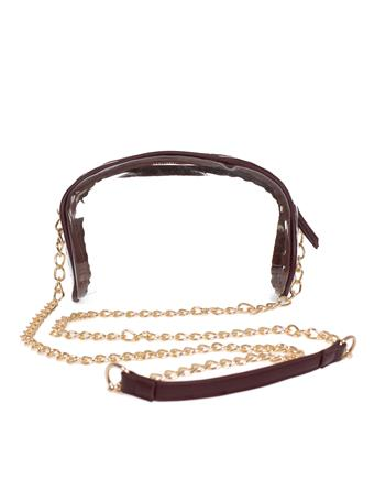 Maroon Rounded Clear Purse With Gold Chain