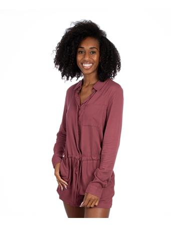 Maroon Long Sleeve Button Down Romper