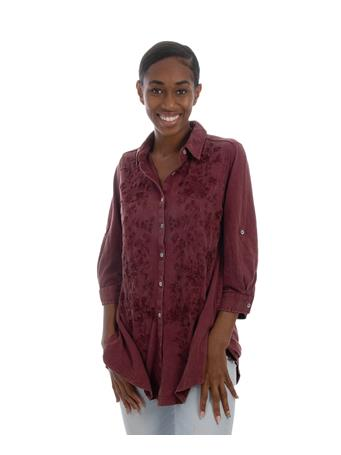 Maroon Caite Womens Embroidered Top