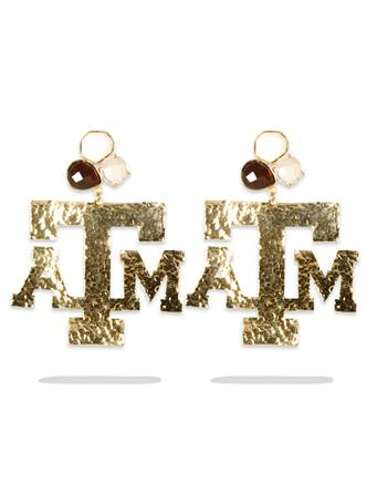 Texas A&M 3 Gemstone Gold Earrings