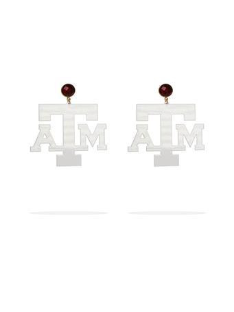 Texas A&M White Logo Garnet Earrings