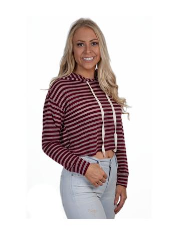 Maroon & White Striped Crop Hoodie