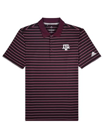 Texas A&M Adidas Ultimate 3-Stripe Polo