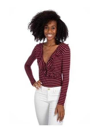 Maroon Striped Body Suit
