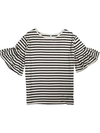 Black & White Striped Ruffle Tee