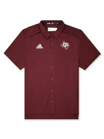 Texas A&M Adidas Game Mode Full Button Polo