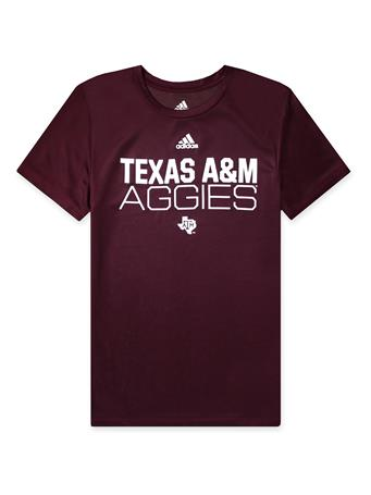 Texas A&M Adidas Youth Locker Stacked Amplifier Tee