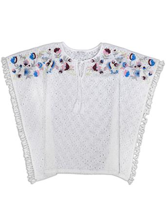 Joy Joy Embroidered White Tunic Top
