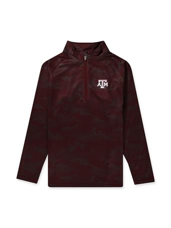 Texas A&M Ty Youth Brushed Camo 1/4 Zip