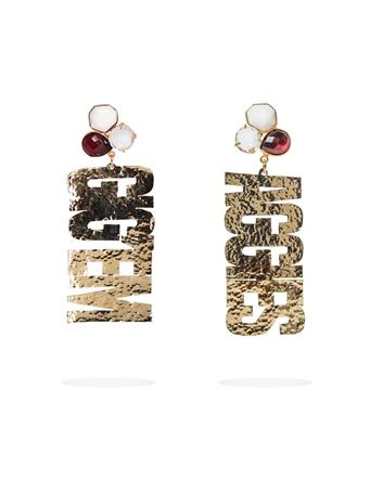 Texas A&M Gig 'Em Aggies 3 Gemstone Gold Earrings