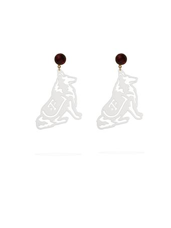 Texas A&M White Reveille Garnet Earrings