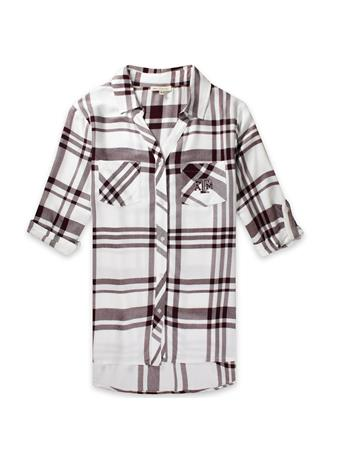 Texas A&M Women's Satin Weave Plaid Button Down