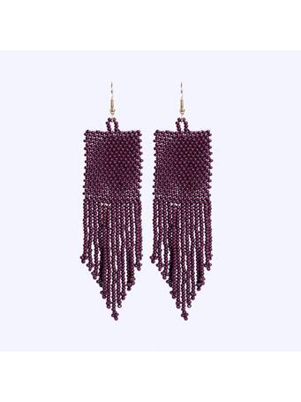 Maroon Fringe Seed Bead Earrings