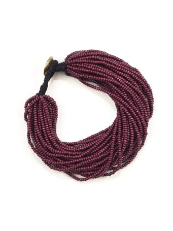 Maroon Seed Bead Multi-Layer Bracelet