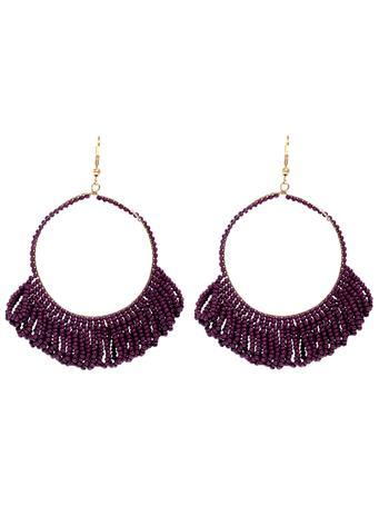 Maroon Fringe Hoop Beaded Earrings