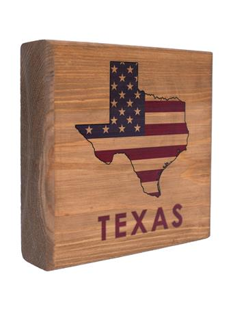 Maroon Texas State American Flag Wooden Sign