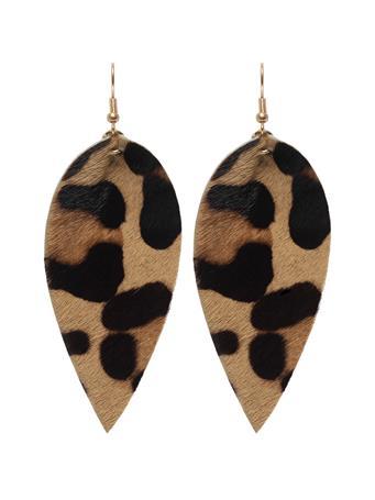Leopard Print Leaf Earring