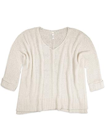 3/4 Sleeve Cream Sweater