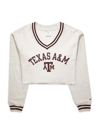 Texas A&M Champion Reverse Weave Cropped V-Neck