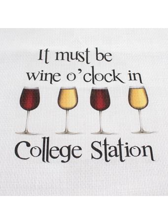 Wine O'Clock in College Station Tea Towel