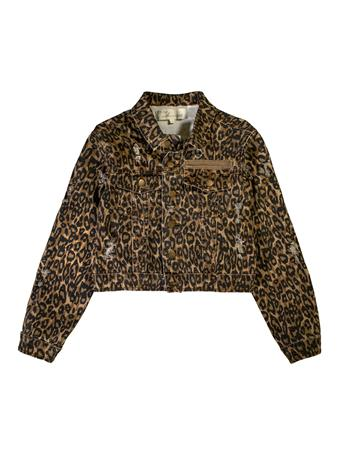 Leopard Print Distressed Cropped Denim Jacket