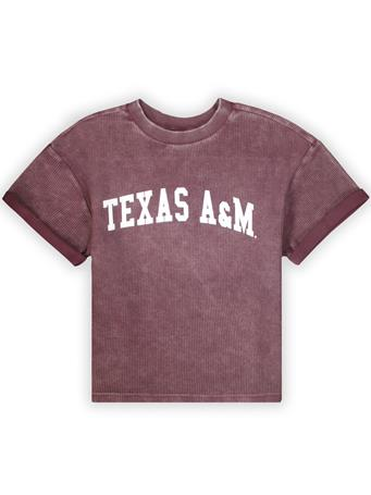 Texas A&M Vintage Corduroy Throwback Cropped Tee