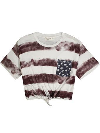 Maroon American Flag Boxy Crop Tie Front Top