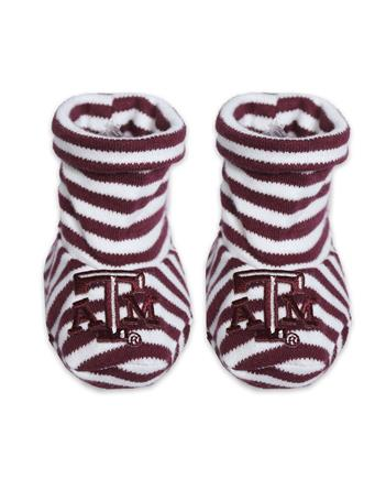 Texas A&M Striped Baby Booties