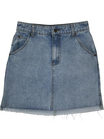 Sadie & Sage Raw Hem Denim Skirt