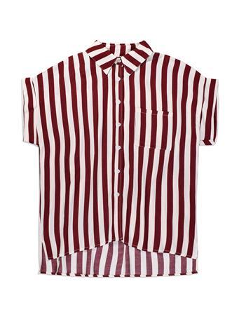 Maroon & White Stripe Button Down Blouse