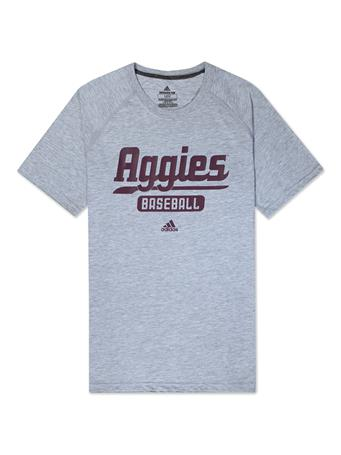 Texas A&M Adidas Baseball Script Sweep T-Shirt