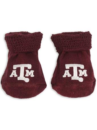 Texas A&M Newborn Booties Gift Box