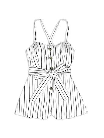 Black & White Belted Romper