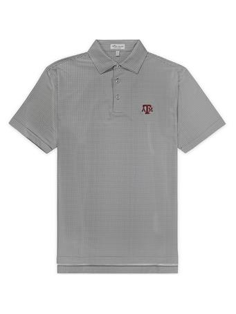 Texas A&M Peter Millar Greek Gingham Stretch Polo