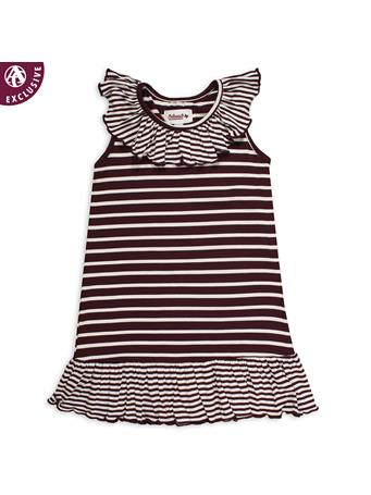 Maroon & White Striped Infant/Toddler Dress