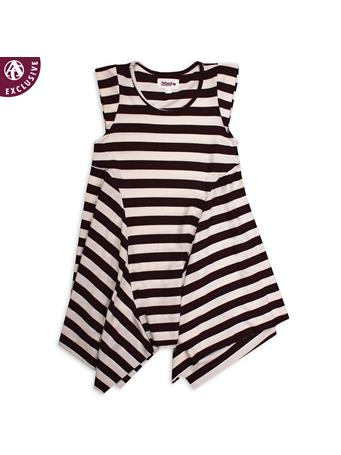 Maroon & White Striped Kids Round Neck Dress