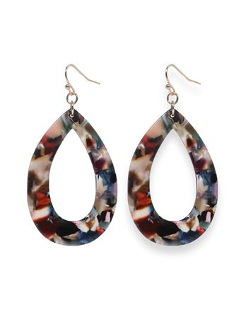 Multi-Color Acrylic Open Teardrop Earrings