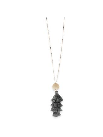 Grey Fabric Tassel Gold Necklace